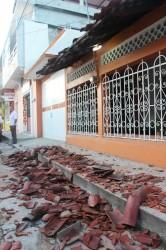 Techos y bardas derribadas. Calle Madero Ote.
