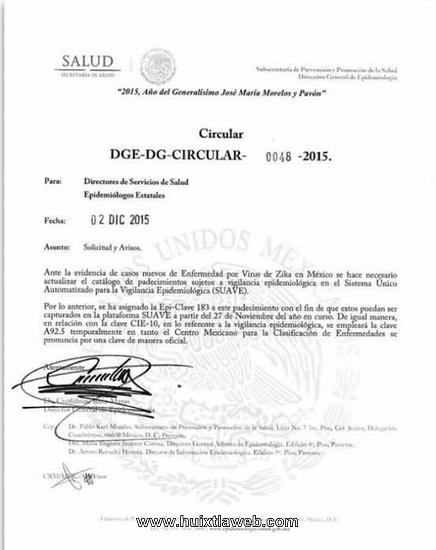 Acepta Secretaría de Salud casos de zika