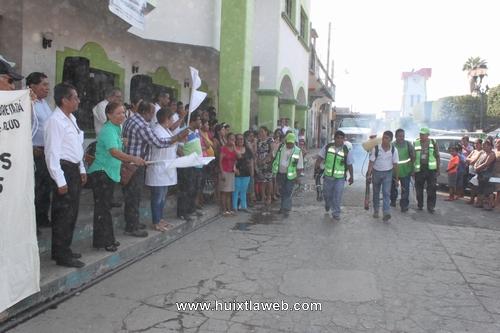 Ayuntamiento de Huixtla y autoridades de salud dan banderazo del 2do ciclo de descacharramiento