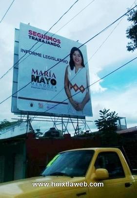 Espectaculares de diputada Local por el distrito de Palenque causan indignación en redes sociales.