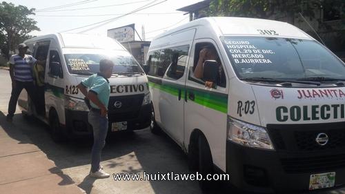 Pelean por pasaje conductores de colectivos en Huixtla