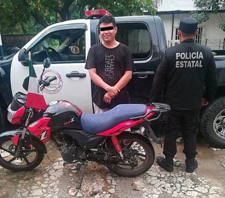 Recuperan motocicleta y detienen a ladrón