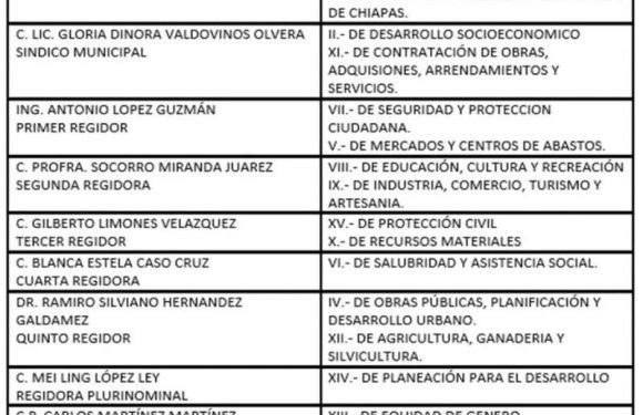 En sesión de cabildo asignan comisiones del gobierno municipal de Huixtla