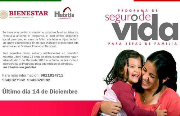 """PROGRAMA BIENESTAR SOCIAL """"SEGURO DE VIDA PARA JEFAS DE FAMILIA"""""""