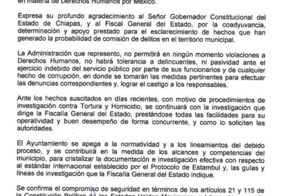 """Alcalde de Huixtla dará """"todas las facilidades"""" para las investigaciones"""