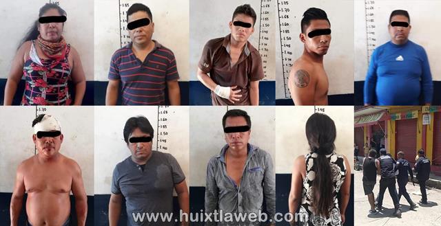 En Zafarrancho de ambulantes en Huixtla ocho detenidos