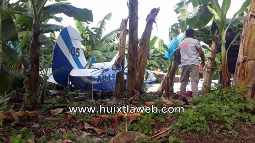 Con lesiones leves resultó piloto al caer avioneta en Mazatán