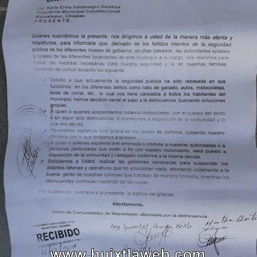 Ante la incompetencia de la alcaldesa Mapanecos hacen frente a la delincuencia