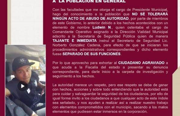 COMUNICADO OFICIAL DEL AYUNTAMIENTO DE HUIXTLA, CHIAPAS