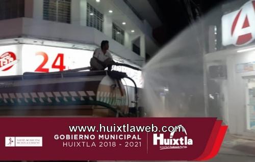 Gobierno de Huixtla sanitiza cabecera municipal, colonias aledañas y edificios públicos