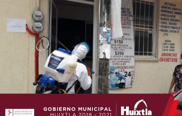Continúan sanitizando consultorios particulares, farmacias, laboratorios y veterinarias del municipio.