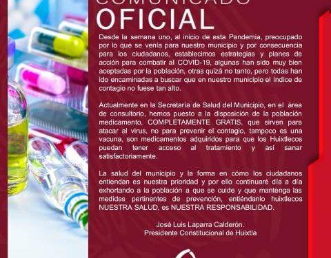 Entrega ayuntamiento de Huixtla medicamentos gratis a Huixtlecos para enfrentar el covid19