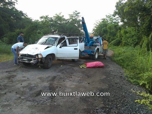 Cae vehículo del puente río cuil en Huixtla