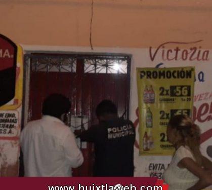 Clausuran negocio con venta de bebidas alcohólicas en Huixtla