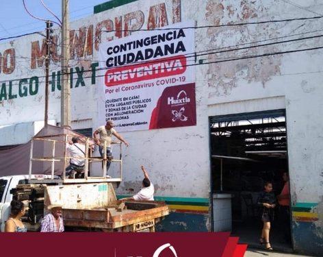 Gobierno de Huixtla sanitizó y nebulizó mercado miguel hidalgo