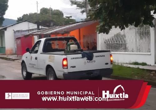 Gobierno de Huixtla realiza nebulización espacial en el municipio