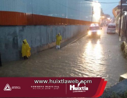 Protección civil monitoreo puntos de Huixtla reportados con encharcamientos