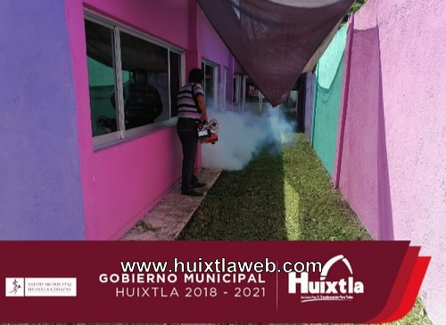 Secretaría de salud del gobierno de Huixtla termonebulizó guardería del IMSS
