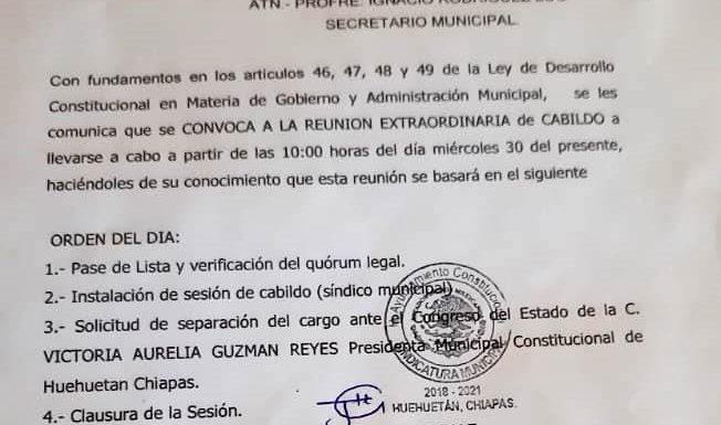 Cabildo de Huehuetán pide separación del cargo de la edil Victoria Guzmán