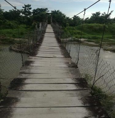 Puente colapsado y río se desborda y daña cultivos