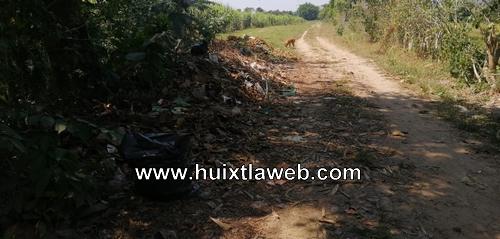 Denuncian un basurero clandestino en Huixtla