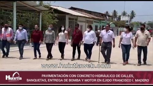 Gobierno de Huixtla entregó obra de pavimentación, bomba de agua y motor sumergible en ejido Francisco I. Madero