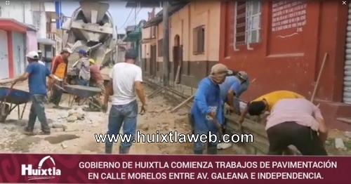 Comienza pavimentación en calle Morelos entre Galeana e Independencia