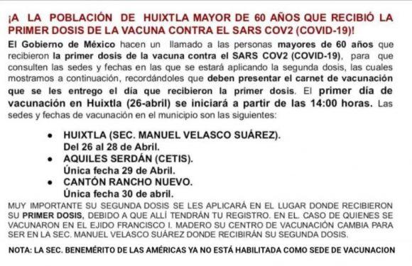 Este lunes segunda aplicación de la vacuna Covid 19 en Huixtla