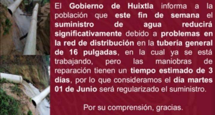 Comunicado a la población de Huixtla