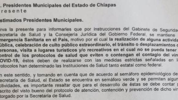 Aviso a la población chiapaneca. Secretaria General de Gobierno