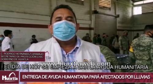 Gobierno de Huixtla realizó entrega de ayuda humanitaria para afectados por las lluvias