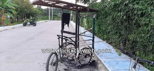 Localizan triciclo calcinado en calles de Huixtla
